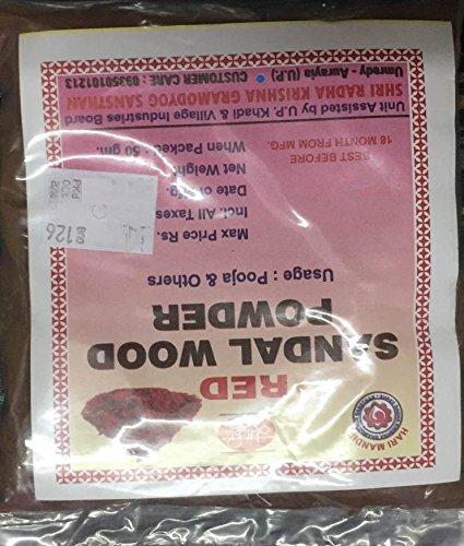 - Khadi Red Sandalwood Powder Chandan Tikka For Pooja & Others 50 Grams