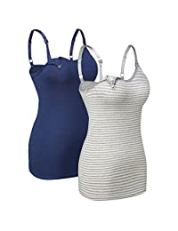 1Pack/2Pack/3Pack Seamless Nursing Cami Tank Top with Build-In Maternity Bra
