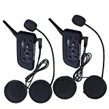Excelvan 2 Packs BT 1.2KM/0.75MI Wireless Skiing Motorcycle Helmet Bluetooth Intercom Headset Motorbike Interphone Connect Up to 6 Riders