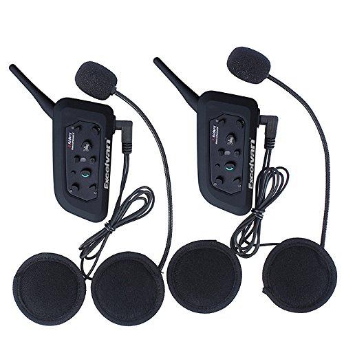 Excelvan 2 Packs BT 1.2KM/0.75MI Wireless skiing Motorcycle Helmet Bluetooth Intercom Headset Motorbike Interphone Connect Up to 6 (Half Cut Helmet)