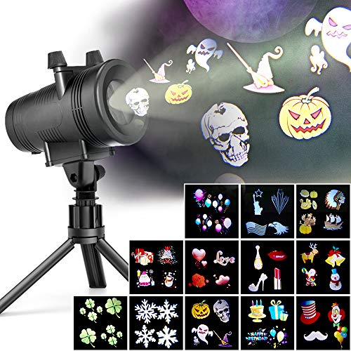 LED Projector Lights with 12 Switchable Patterns for Halloween, Ominilight Waterproof Magicfly Rotating Spotlight for Holiday, Thanksgiving, Birthday, Party, Indoor and Outdoor Decoration Easter Day