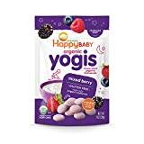 Happy Baby Organic Yogis Freeze-Dried Yogurt & Fruit Snacks Mixed Berry, Organic Gluten-Free Easy to Chew Probiotic Snacks for Babies & Toddlers, 1 Ounce, Pack of 1