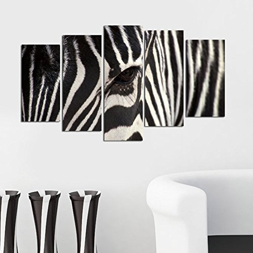 LaModaHome Decorative 100% MDF Wall Art 5 Panels (43'' x 24'' Total) Ready to Hang Painting Zebra Wild Animal Eye Pattern Africa Cute by LaModaHome