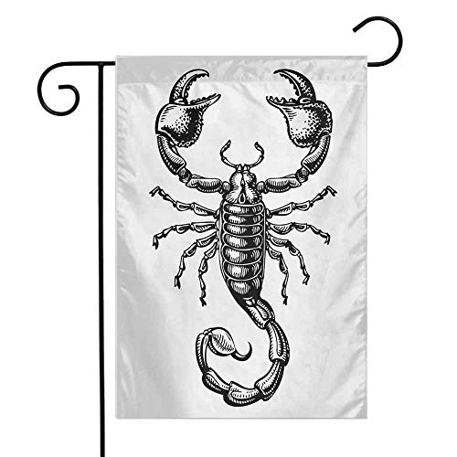 Mannwarehouse Zodiac Scorpio Garden Flag Monochrome Sign Sketch Art of a Scorpion Tattoo Animal Horoscopes Theme Decorative Flags for Garden Yard Lawn W12 x L18 Black and White