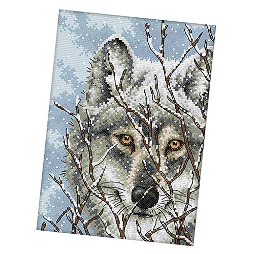 Prettyia Snow Wolf Cross Stitch Stamped Kits Pre-Printed Cross-Stitching Starter Patterns for Beginner Kids or Adults, Embroidery Needlepoint Kits - 11CT, 27 x -