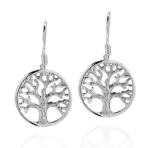 Immortal Tree of Life .925 Sterling Silver Dangle Fish Hook Dangle Earrings (Life Fish Sterling Silver)