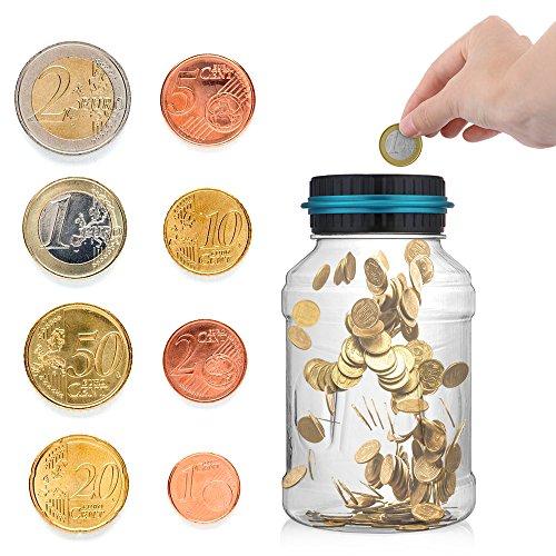 AOZBZ Digitale Salvadanaio Euro Counter, Automatico Coin Counting Soldi Scatola per i Bambini e Adulti, Sicuro Moneta Risparmio Contanti con Display LCD e Grande capacità (1,5L)