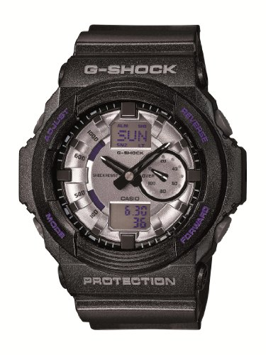 Drive Timer World Eco Mens - Casio GA150MF-8A Men's G-Shock Silver Metallic Ana-Digi Dial Shock Resistant Black Resin Dive Watch