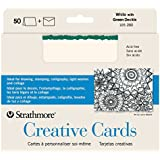 Strathmore Blank Greeting Cards with Envelopes, White with Green Deckle, Pack of 50 (ST105-280)