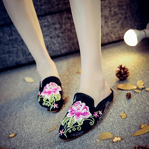Slip Backless On Slippers Embroidery Women Black Mules Loafers Casual Shoes YIBLBOX xwfYP1Zqa