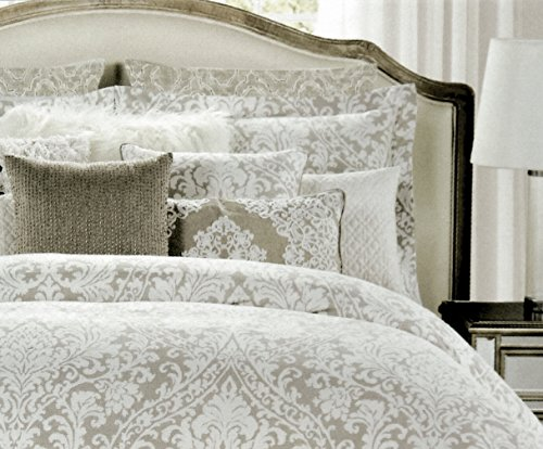 Tahari Home Vintage Damask Ornate Scroll Luxury Duvet Cover 3 Piece Bedding Set Antique Bohemian Paisley Medallion Taupe Tan Ivory Patterned 300tc Cotton Full/Queen or King (King, Neutral) ()