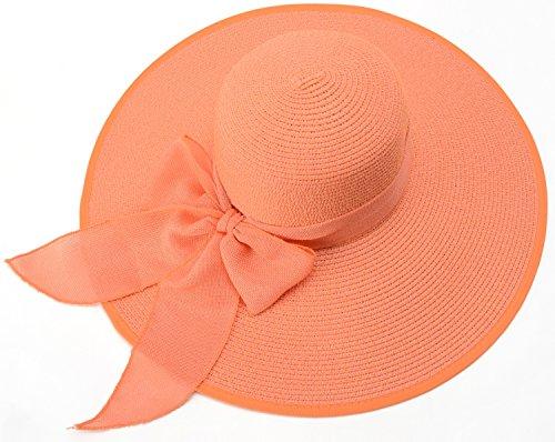 Flosci Donne Cappelli Intrecciano Bowknot Arancione Upf 50 Cappelli Yiuoer Di Grandi Rinfrescanti Royou Le Pieghevole Spiaggia Sole Per Estate Moda gRtqcwpx