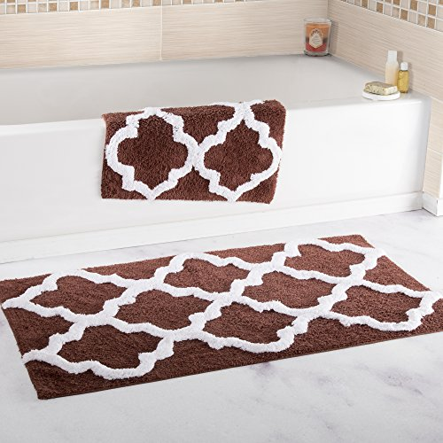 Regal Small Rug - Bedford Home 100% Cotton 2 Piece Trellis Bathroom Mat Set - Chocolate