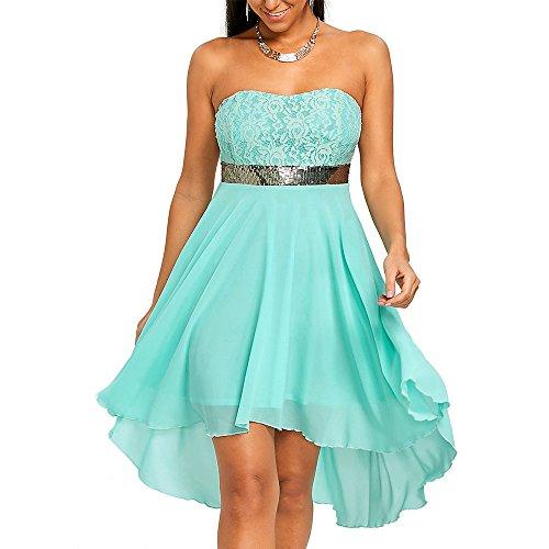 CharMma Women's Strapless Sleeveless Sequined Chiffon Bandeau Party Dress (Blue, M)