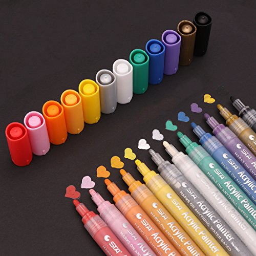 Noahfun Acrylic Paint Marker Brush Pen - Set of 12 Pieces of Acrylic Markers for Paper, Wood, Glass, Stone, Wall, Fabric And Rock Painting, Perfect Choice for DIY Projects