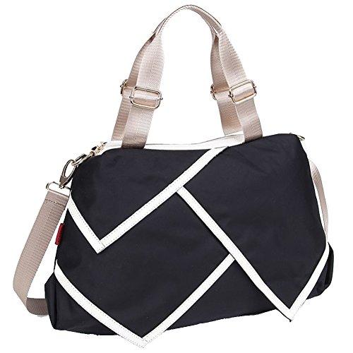 FCZERO HB40062 Nylon Handbag for Women,Leisure Solid Splicing Packet,Black