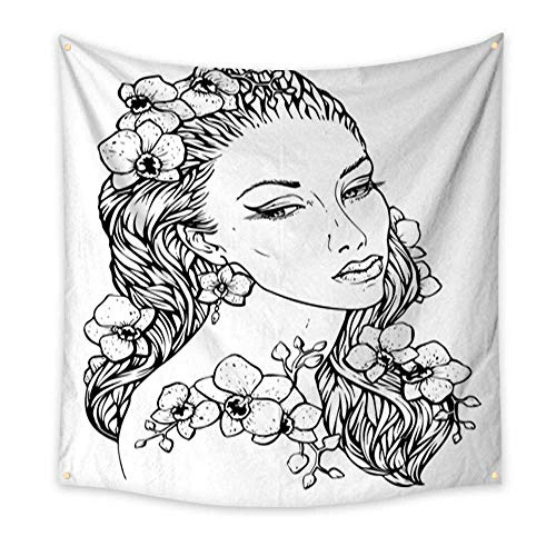 Anniutwo Feminine Tapestry Pretty Elegant Boho Girl with Floral Wreath Made of Orchid Hand Drawn Amazing Floral Bohemia Coloring Book Page for Adult Living Room Bedroom Dorm Decor in 70W -