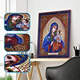 DIY 5D Diamond Painting Religious Partial Drill Rhinestone Embroidery Dotz Cross Stitch by Number Kit Home Wall Decor for Adults Kids Beginner (A)
