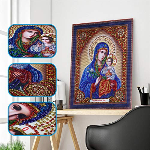 DIY 5D Diamond Painting Religious Partial Drill Rhinestone Embroidery Dotz Cross Stitch by Number Kit Home Wall Decor for Adults Kids Beginner (A) by Codiak-Decor (Image #9)