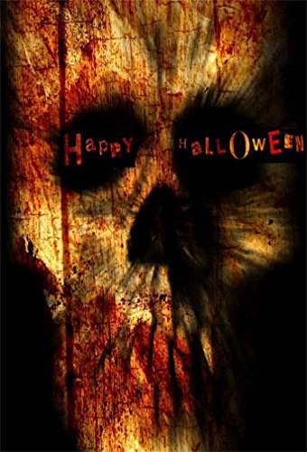AOFOTO 4x6ft Horrible Evil Skull Background Happy Halloween Party Decoration Photography Backdrop Grunge Scary Gloomy Blood Ghost Vampire Fashion Youngster Boy Girl Photo Studio Props Vinyl -