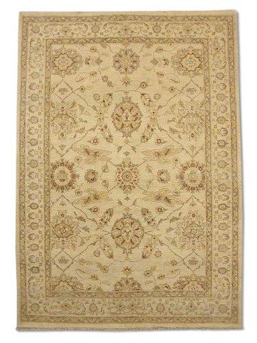 Traditional Persian Chobi Handmade Sultanabad Rug, Wool, Cream, 4' 1