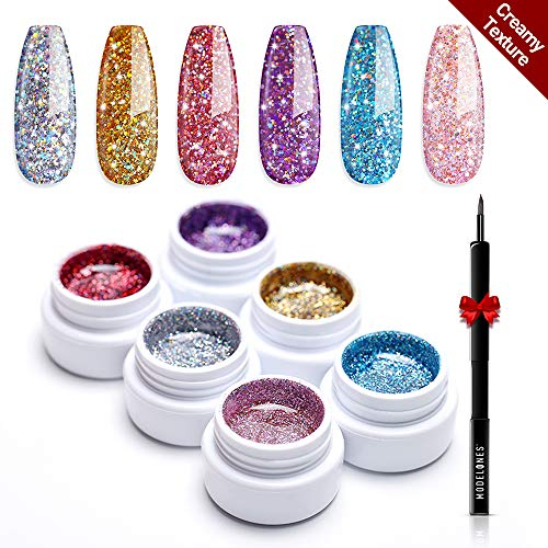 Modelones Glitter Gel Nail Polish Set - 6 Color, Soak Off UV LED Super Platinum Glitter Nail Polish Nail Gel Varnish Manicure Kit 5 ml (Best Glitter Gel Nail Polish)