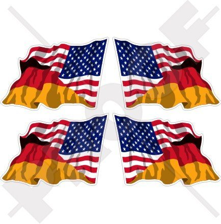 USA United States of America & GERMANY Waving Flag, American & German, Deutschland 2