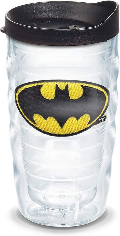 Tervis 1083742 Batman Tumbler with Emblem and Black Lid 10oz Wavy, Clear