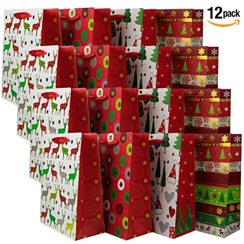 Luxury Christmas Gift Bags Large – [12 Pack] 26cm x 32cm x 12 cm Shopping Paper Bag, Party Birthday Gift Bags