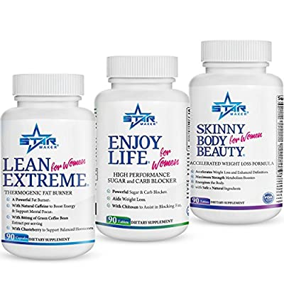 STARMAKER 360* Weight Loss KIT - Powerful Fat Burner, Metabolism Booster, Appetite Suppressant, Sugar Blocker and Carb Blocker - (Enjoy Life + Skinny Body Beauty + Lean Extreme), 1.5 Months Supply