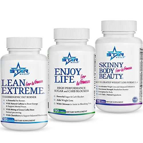 STARMAKER 360* WEIGHT LOSS KIT - Powerful Fat Burner, Metabolism Booster, Appetite Suppressant, Sugar Blocker and Carb Blocker - (Enjoy Life + Skinny Body Beauty + Lean Extreme), 1.5 Months Supply by STARMAKER
