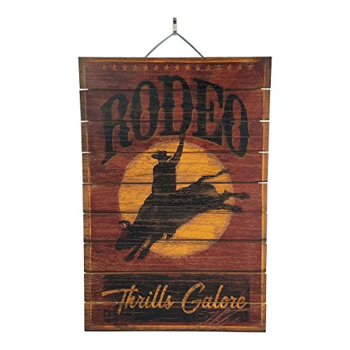 """Rodeo Thrills Galore Inspirational Reclaimed Wood Sign, 12"""" x 18"""" Rustic Home Decor Plaque with Hanger bundle sold by Imprints Plus, made by Highland Woodcrafters 45-01622"""