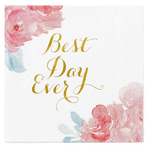 C.R. Gibson Floral 'Best Day Ever' Beverage and Cocktail  Napkins, 40pc, 5'' W x 5'' L
