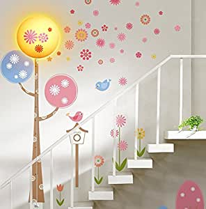 Niteangel®Spring-Lovable Wall Lamp(110VAC) Combining Wall decal and LED lamp with UL and CE Certified Wire Control Switch and Removable Decals.