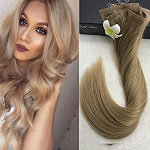 Full Shine 8 Pieces 20 inch 120g Color #18 Seamless Ash Blonde Clip in Extensions Glue in Real Hair Extensions With Clips on Good Quality Best Hair Buy Clip in Extensions