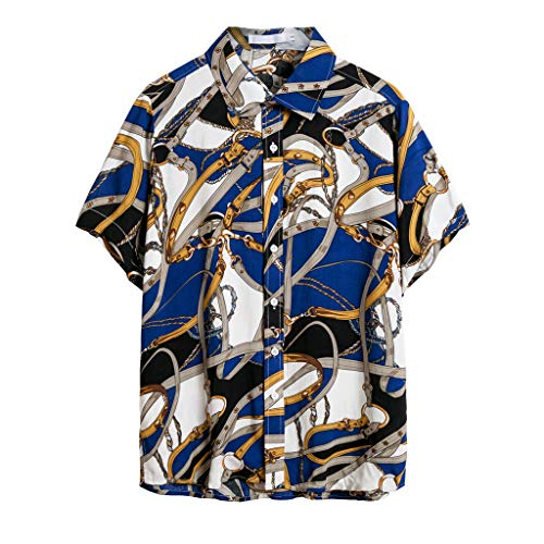 Mens Hawaiian Funny Print Shirt - Short Sleeve Linen Button Down Slim-Fit Summer Beach Retro Tops (S, Blue)