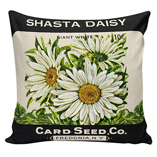 - Athena Bacon Spring Pillowcase Covers Botanical Pillowcase Covers Seed Packet Daisies Floral Cushion Covers Throw Pillowcase Covers Cotton Burlap