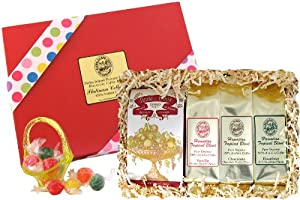 Flavored Hawaiian Coffee and Candy Gift for Christmas and All Occasions, Chocolate, Hazelnut and French Vanilla Flavored Coffee, Ground, Brews 36 Cups
