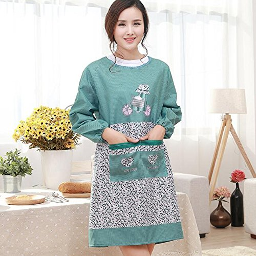 Very Attractive Waterproof Long Sleeve Apron Women Craft Printing Apron_Green Easyflower