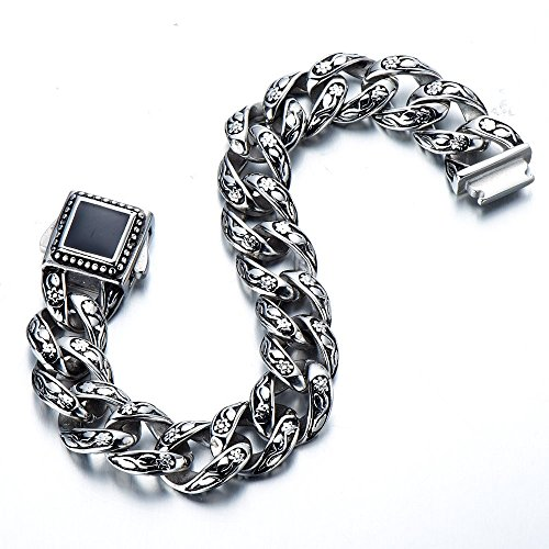 Chunky Heavy Mens Stainless Steel Curb Chain Bracelet 8.66 Inches Old Metal Finishing Silver and Black