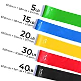 Best Fitness Resistance Bands Set of 5 Simplify Exercise Workout Bands for Legs Arms Fit for Training Pilates Powerlifting Stretching Physical Therapy Yoga Rehab and Home Fitness