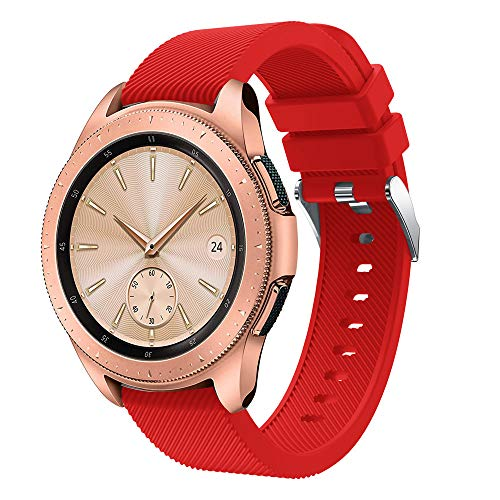 Wristbands For Samsung Galaxy Watch 42mm, Polwer Soft Silicone Replacement Bands (Red)