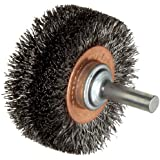 """Weiler Wide Face Wire Wheel Conflex Brush, Round Shank, Steel, Crimped Wire, 2"""" Diameter, 0.0118"""" Wire Diameter, 1/4"""" Shank, 7/16"""" Bristle Length, 3/4"""" Brush Face Width, 20000 rpm"""