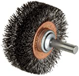 Weiler Wide Face Wire Wheel Conflex Brush, Round Shank, Steel, Crimped Wire, 2'' Diameter, 0.0118'' Wire Diameter, 1/4'' Shank, 7/16'' Bristle Length, 3/4'' Brush Face Width, 20000 rpm
