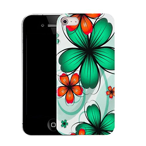Mobile Case Mate IPhone 4 clip on Silicone Coque couverture case cover Pare-chocs + STYLET - green daisy bunch pattern (SILICON)