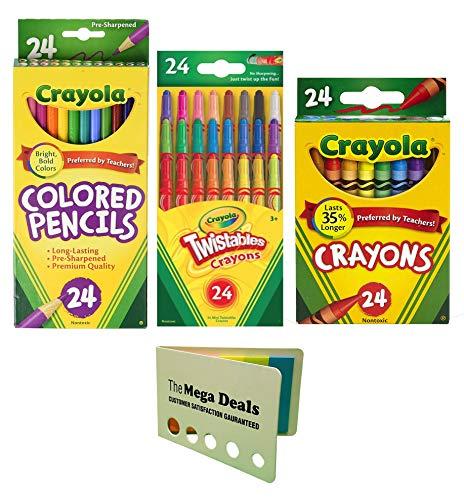 (Crayola Colored Pencils, 24 Count   Twistable Mini Crayons, 24 Count   Crayons, 24 Count   Includes 5 Color Flag Set)