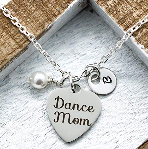 Dance Mom Necklace - Personalized Initial & Birthstone - Ballet Mom Jewelry for Women - Dance Gift Idea - Fast Shipping