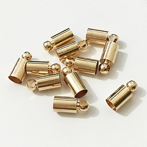 50pcs Glue-in Style Necklace Cord Crimp End Caps tassel caps beads crimps end (4mm wide, 9mm long, KC gold plated) (Gold End Caps)