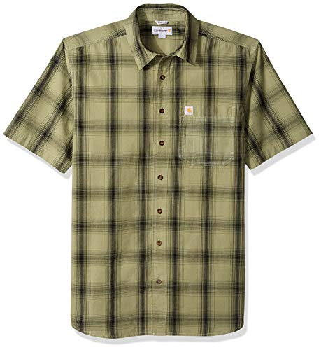 Carhartt Men's Big Big & Tall Essential Plaid Open Collar Short Sleeve Shirt, 372-Oil Green, 2X-Large/Tall Carhartt Button Down Work Shirt