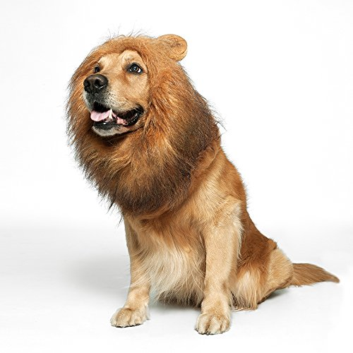 JUBOZAMO Dog Lion Mane - Realistic & Funny Lion Mane for Dogs - Complementary Lion Mane for Dog Costumes - Lion Wig for Medium to Large Sized Dogs Lion Mane Wig for Dogs (Brown and Black)]()